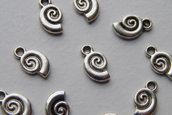 10 Pieces of Metal Jewelry Charms - 12mm Nautilus Shell, Beach, Sea Life, Drop, Double Sided, Bright & Antique Silver Color, Base Metal