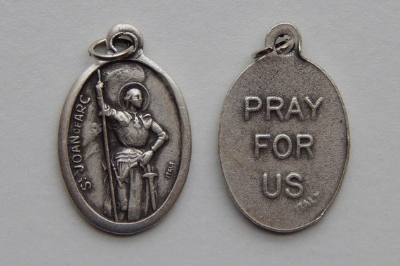 Patron Saint Medal Finding - St. Joan of Arc, Large Pray, Die Cast Silverplate, Silver Color, Oxidized Metal, Italy Made, Charm, Religious