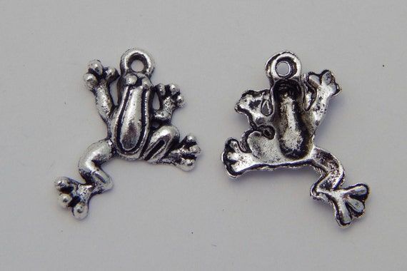 Jewelry Charms - Frogs, Pendants, Dangles, Animal, Metal, Silver Color, 20mm, 10 Pieces