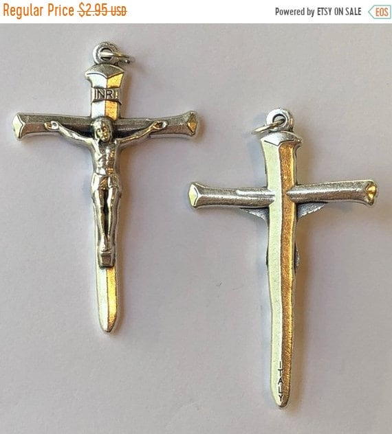 FINAL CLEARANCE 2 Religious Medal Findings - Crucifix, Extra Large, Nail Shape, Beautiful Detail, Die Cast Silverplate, Silver Color, Oxidiz