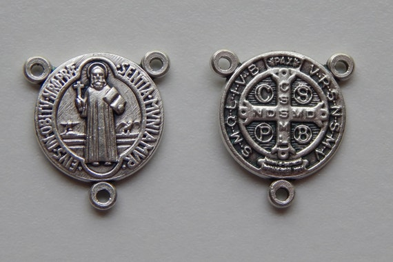 Rosary Center Piece Finding - Medium St. Benedict, Silver Color Oxidized Metal, Rosary Center, Religious, Hardware, Made in Italy