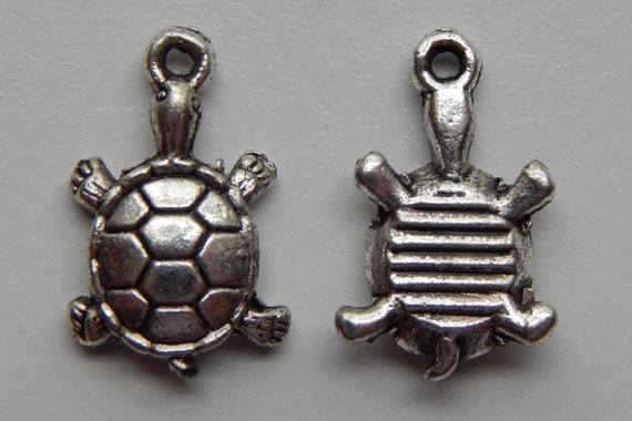 10 Pieces of Metal Jewelry Charms - 18mm Turtle, Animal, Beach, Sea Life, Drop, Single Sided, Antique Silver Color, Base Metal, Top Loop