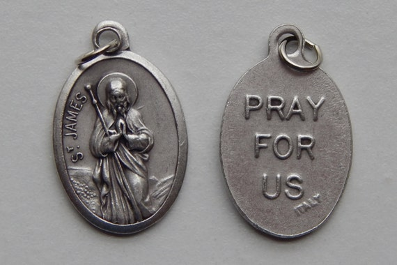 5 Patron Saint Medal Findings - St. James, Die Cast Silverplate, Silver Color, Oxidized Metal, Made in Italy, Charm, Drop