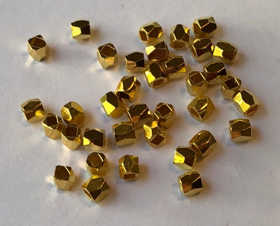 50 Pieces of Small Metal Beads - 3mm, Spacers, Gold Color,Rectangular, Faceted Polygons, Base Metal