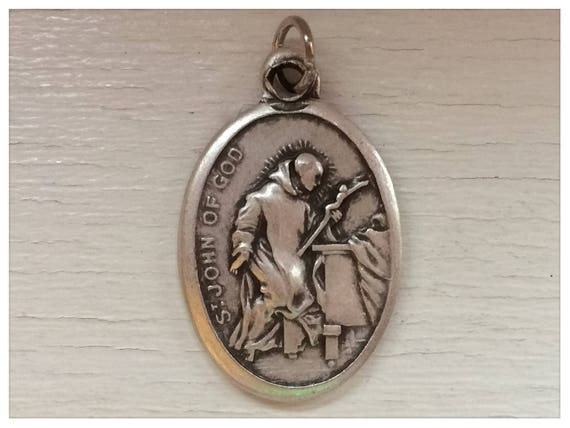 Patron Saint Medal Finding - St. John of God, Die Cast Silverplate, Silver Color, Oxidized Metal, Made in Italy, Charm, Religious