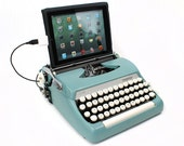 USB Typewriter Computer Keyboard -- Smith Corona Sterling -- Robins Egg Blue