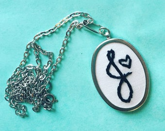Monogrammed Gifts. Initial Necklace. Letter Jewelry Personalized Gifts for Her. Mom Jewelry Custom Embroidery. Embroidered Pendant Necklace.