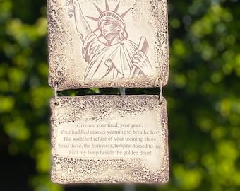 Statue of Liberty Quote Ceramic Plaque - Sepia Toned
