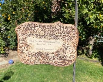 Handmade Elizabeth Zimmerman Knitting Quote Ceramic Plaque