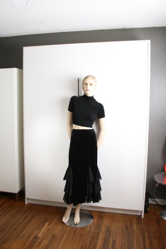 Black Velvet Sheer Ruffle Godet Maxi Skirt Vintag… - image 1
