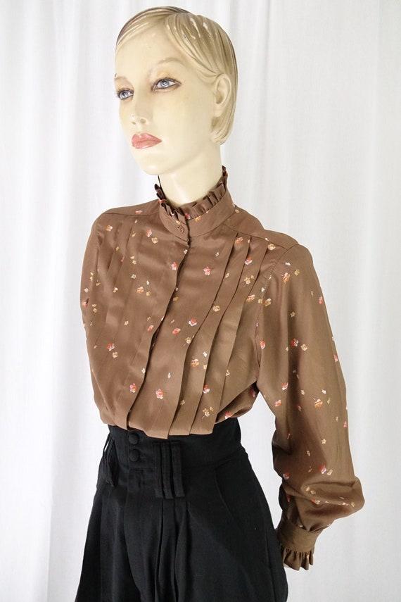mocha orange floral tucks blouse ruffle collar cu… - image 1