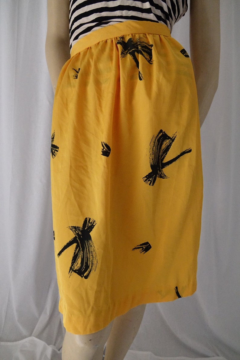 yellow skirt black brushstrokes high waist vintage 1980s