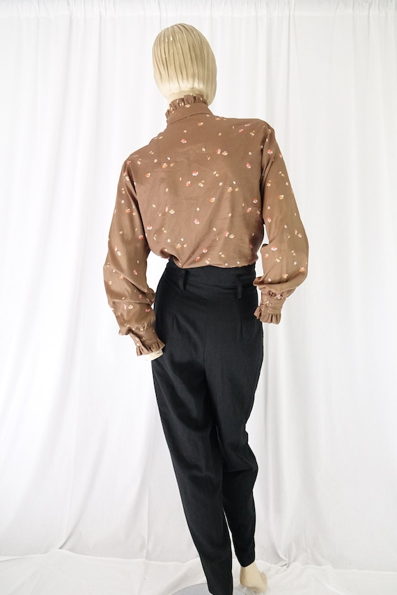 mocha orange floral tucks blouse ruffle collar cu… - image 5