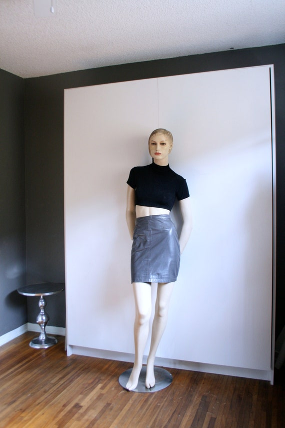 Gray Leather mini skirt 80s