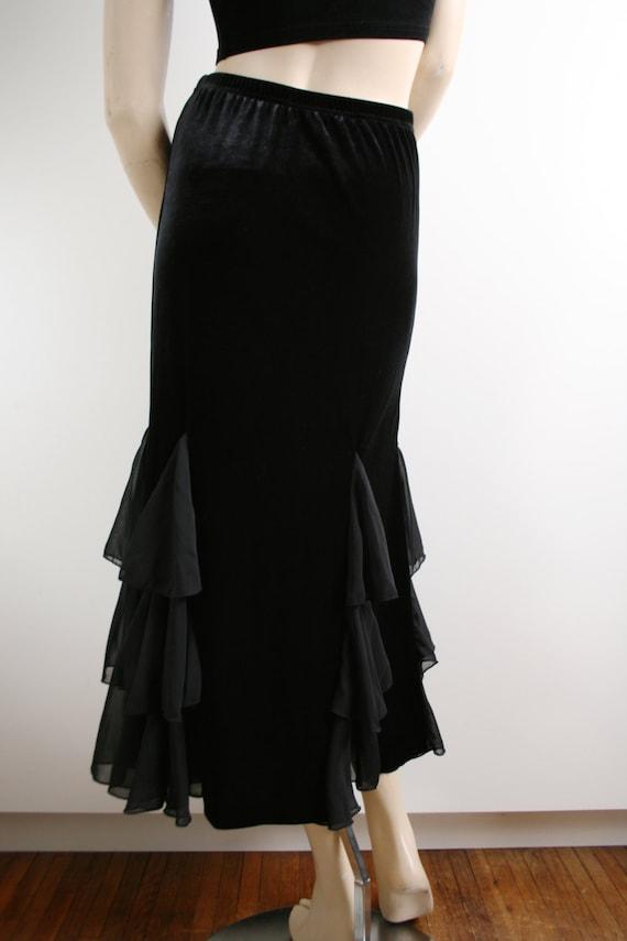 Black Velvet Sheer Ruffle Godet Maxi Skirt Vintag… - image 5
