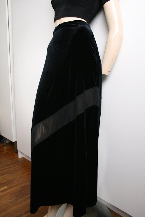 Express Tricot Black Velvet Sheer Panel Stripe Ma… - image 2