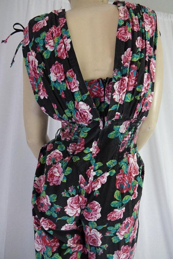Karen Alexander black floral jumpsuit bustier gat… - image 9