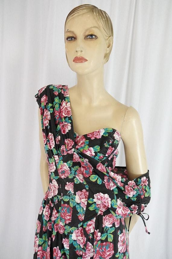 Karen Alexander black floral jumpsuit bustier gat… - image 5