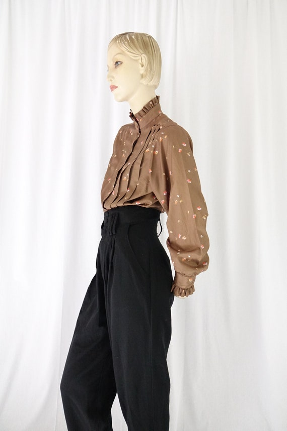 mocha orange floral tucks blouse ruffle collar cu… - image 4