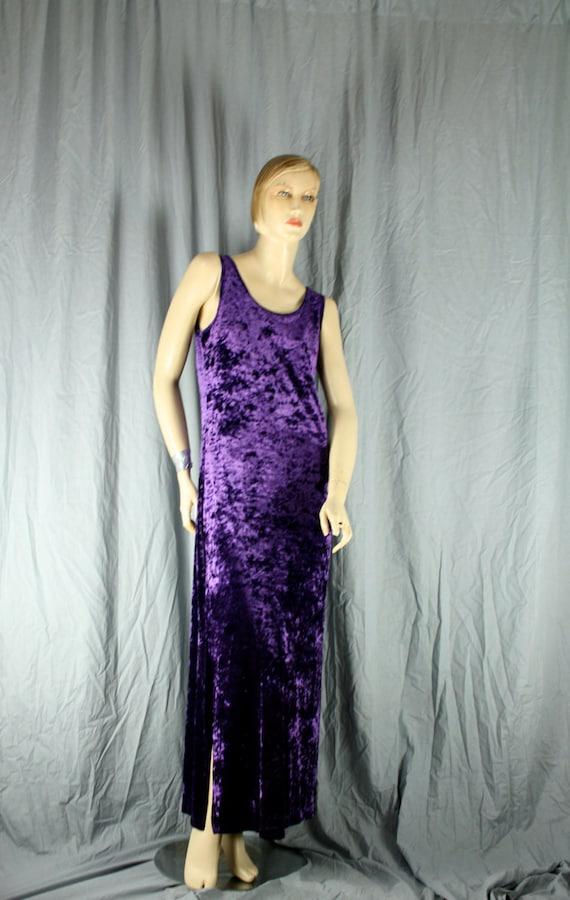 purple crushed velvet maxi dress