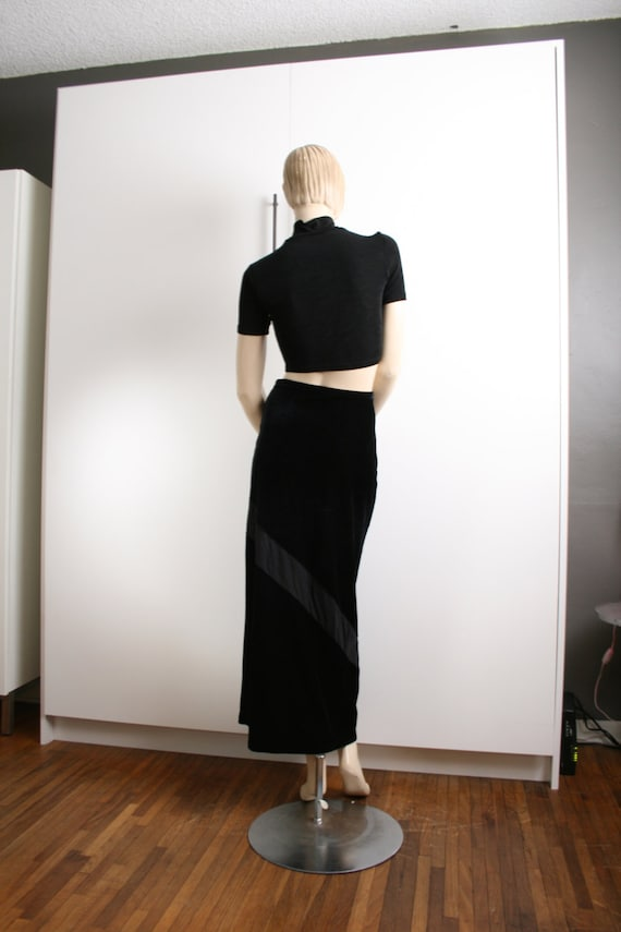 Express Tricot Black Velvet Sheer Panel Stripe Ma… - image 5