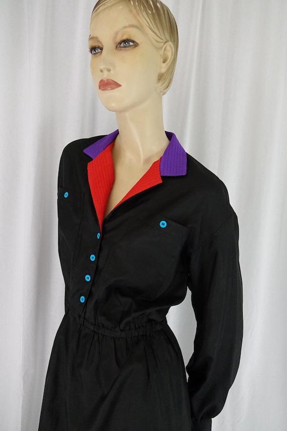 color block black dress vintage 1980s