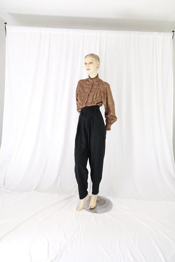 mocha orange floral tucks blouse ruffle collar cu… - image 2