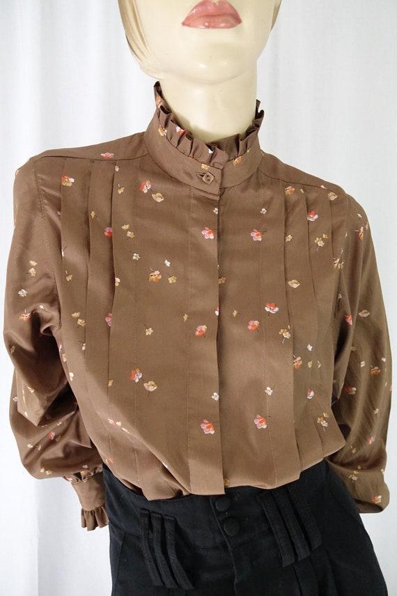 mocha orange floral tucks blouse ruffle collar cu… - image 3