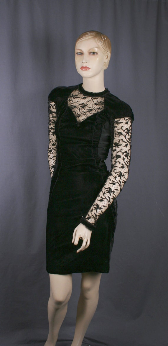 Vintage 1980's black velvet lace bodycon dress