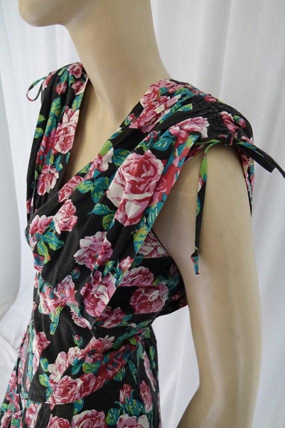Karen Alexander black floral jumpsuit bustier gat… - image 6