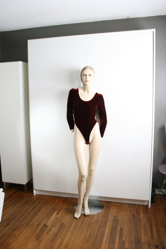 Burgundy Velvet G String Bodysuit Vintage Dance Le
