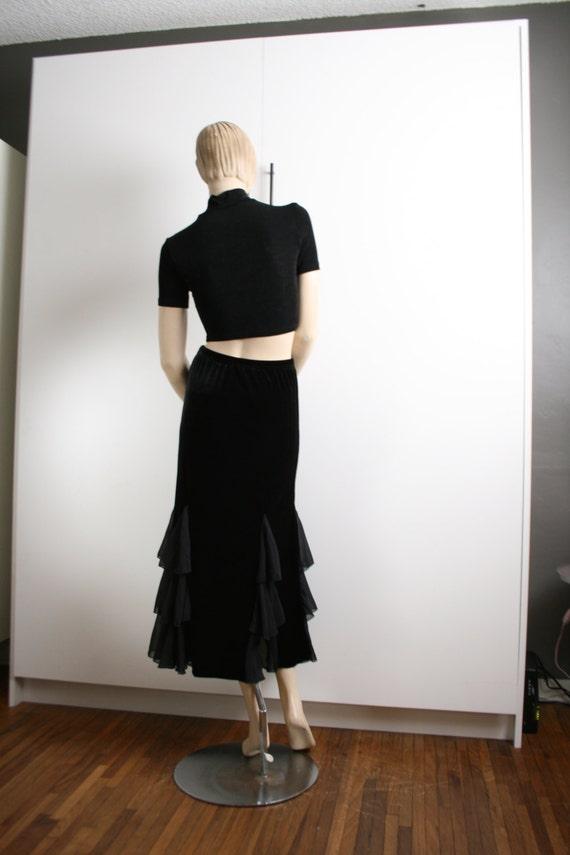 Black Velvet Sheer Ruffle Godet Maxi Skirt Vintag… - image 4