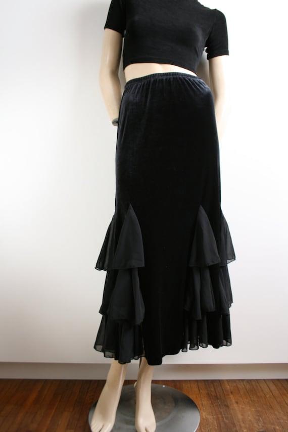 Black Velvet Sheer Ruffle Godet Maxi Skirt Vintag… - image 2