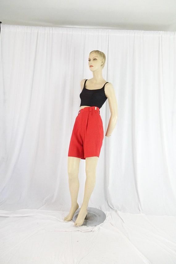 side zip high waist shorts red vintage 1980s 90s M