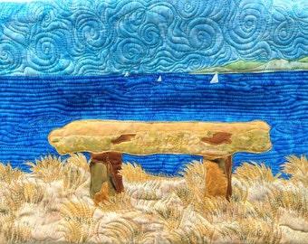 overlook bench fusible applique art quilt pattern tutorial