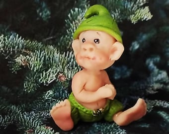 Baby Christmas Elf Gnome One of a Kind Clay Collectible