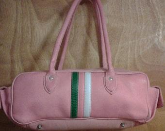 ea4579e9130e Pink Leather Purse Latico Shoulder Bowling Style Purse Bag Handbag  Pocketbook Retro Hipster Stripes