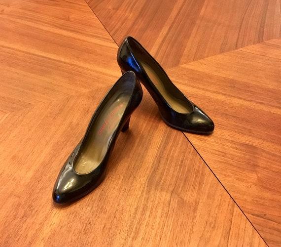 Charles Jourdan 1980's Black Patent Heels Pumps Sh