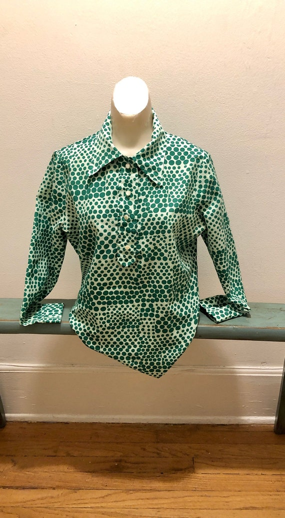 MCM Vintage 1960's Deep and Pale Greens Polka Dots