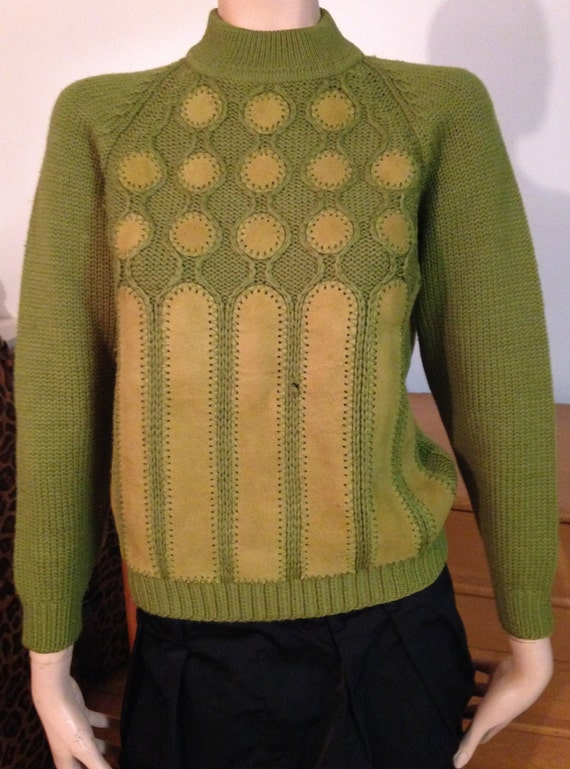 Wool Swede Green Sweater Polka Dots Chartreuse Sma