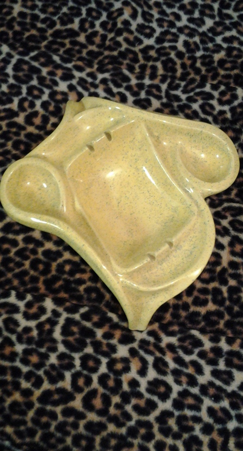 Yellow Ashtray Speckled Mid Century Modern Mad Men Speckled