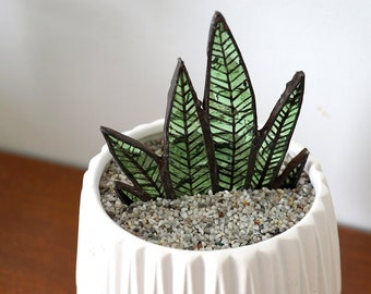 Stain Glass Aloe Vera Plant Sun catchers made from recycled Glass - Co Worker Gift