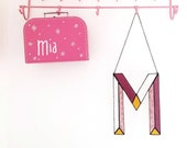 MADE TO ORDER - Pink Hipster baby shower Rustic letters, Modern stained glass Nursery artwork decor, Abc for the minimal Nursery