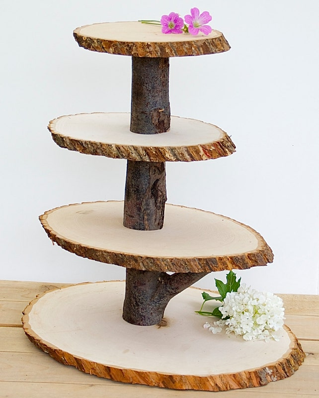 Wooden Cupcake Stand Rustic Wood Tree Slice