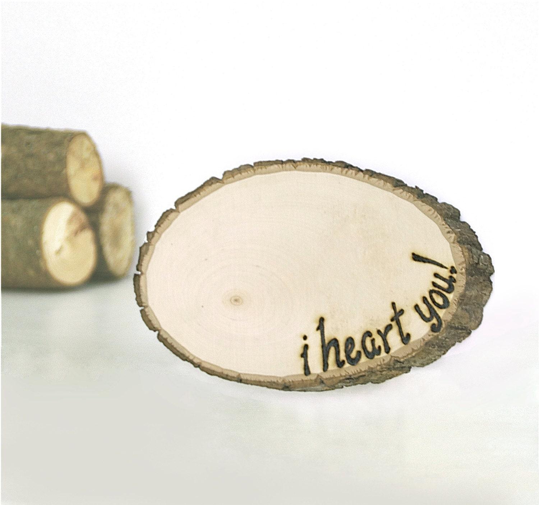 zoom Rustic Wood Tree Slice Love Letter