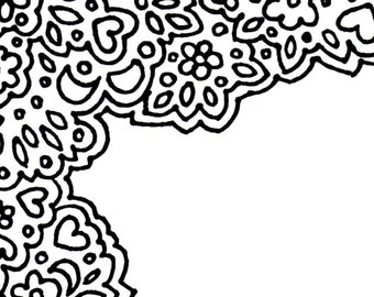 Hearts And Flowers Border Printable Unlined Stationery Coloring Page