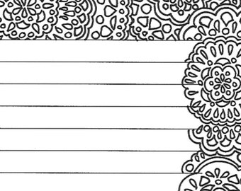 floral border lined stationery page etsy