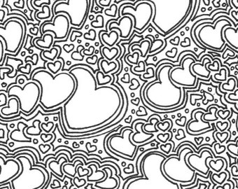 Hearts Coloring Etsy