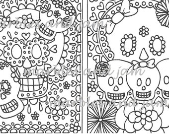 Sugar Skull adult adult printable coloring page Day of the | Etsy