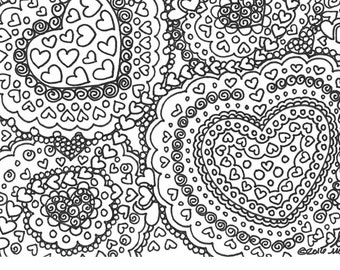 Abstract Mega Hearts Valentines Printable Adult Coloring Page